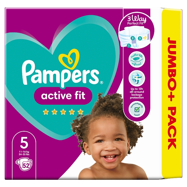 Pampers Active Fit Size 5 Nappies Jumbo+ Pack