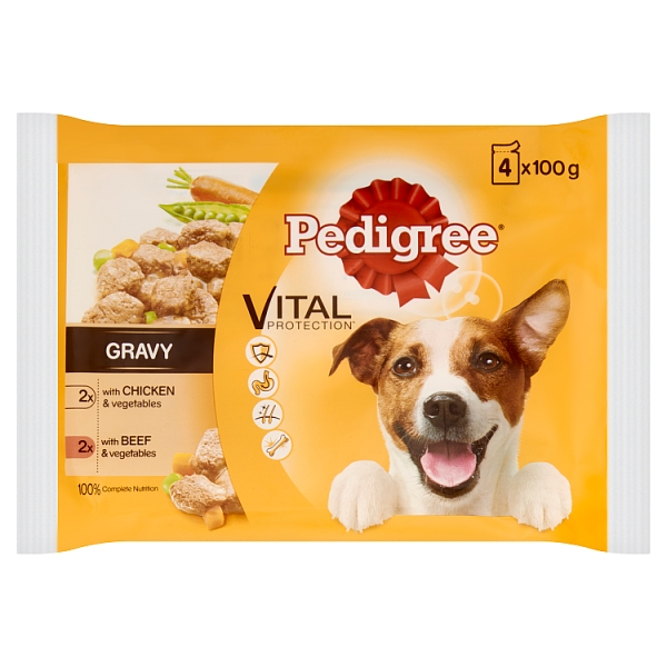 Pedigree Pouch Chicken Beef Veg Variety 4 Pack 400 Grams
