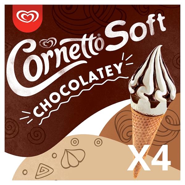Cornetto Soft Chocolatey Ice Cream Cones 4 Pack