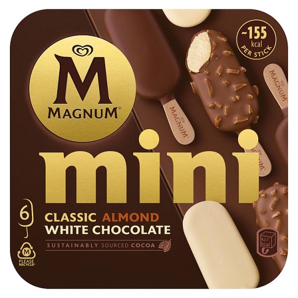 Magnum Mini Classic Almond White Ice Cream 6 Pack