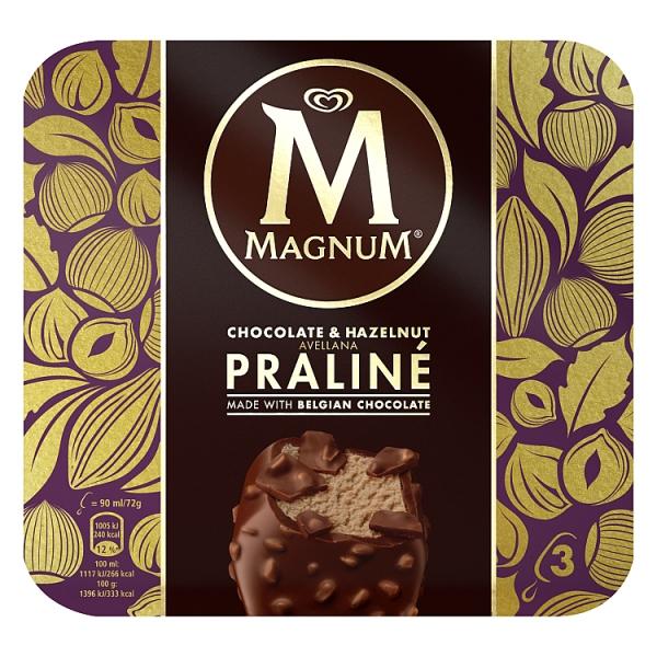 Magnum Chocolate & Hazelnut Praline Ice Cream 3 Pack